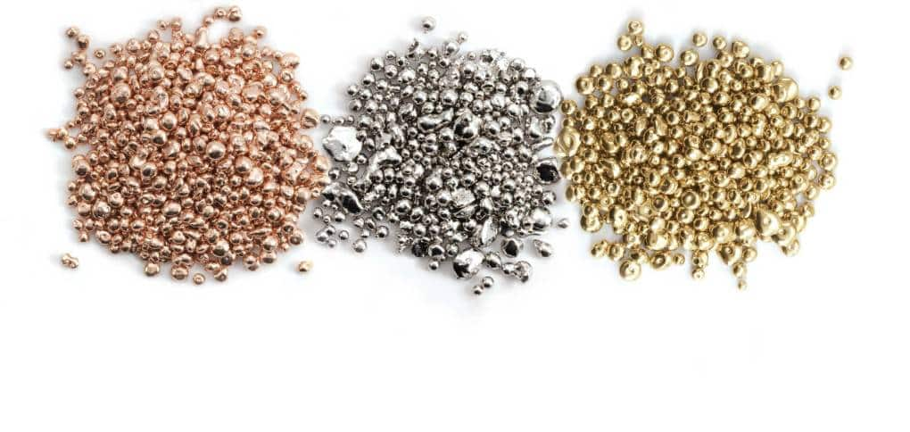 Types of metals available for making engagement rings and wedding rings.